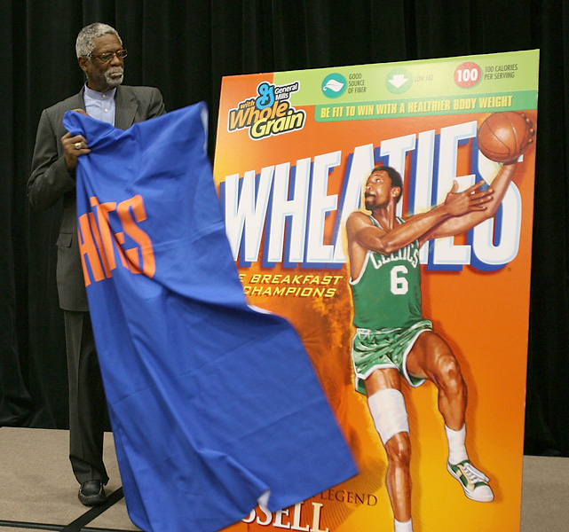 Russell unveils a new Wheaties box featuring his picture during a ceremony in 2007.