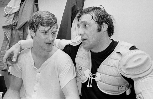 The Bruins legends commune in the dressing room after Orr scored two goals and Esposito tallied one to equal the NHL record for goals in a season. The pair finished 1-2 in scoring that season: Esposito led the NHL with 76 goals and 152 points, while Orr totaled 139 points.