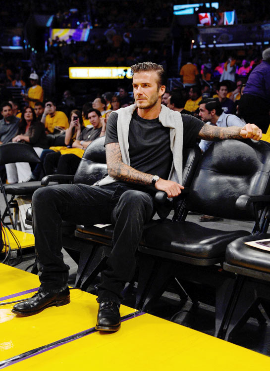 Becks rushed back -- perhaps without shaving, even -- from the Royal Wedding to watch the Lakers lose Game 1 of their Western Conference semifinal against the Mavericks.