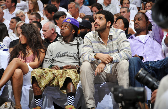 Lil Wayne (appropriately wearing a Lakers hat) and Drake took in Game 4 of the Bulls-Heat series in Miami.