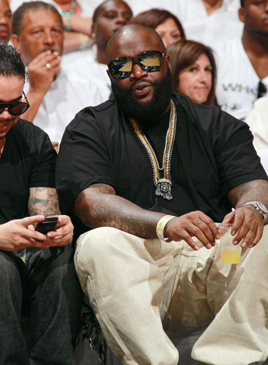 Rick Ross took a break from making Aston Martin Music to attend Game 1 of the Heat-Celtics series in Miami.
