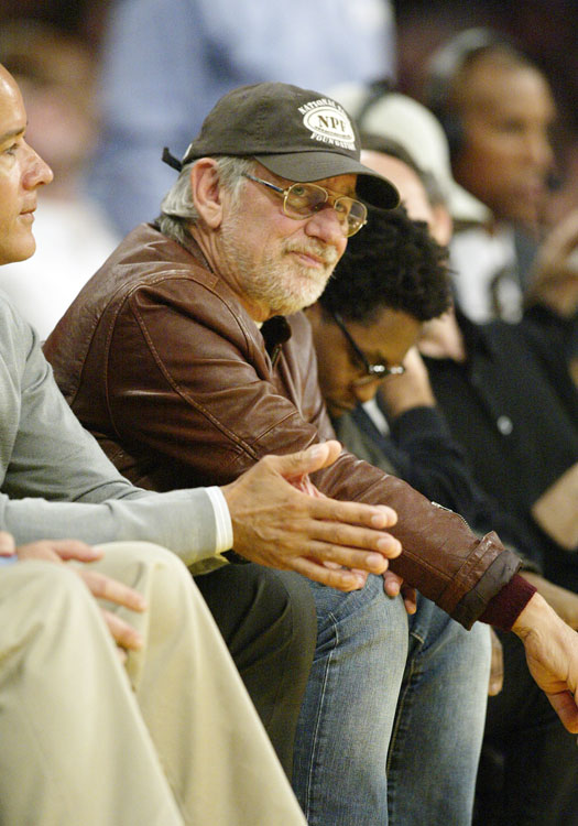 The famed movie director was courtside at a Lakers game.