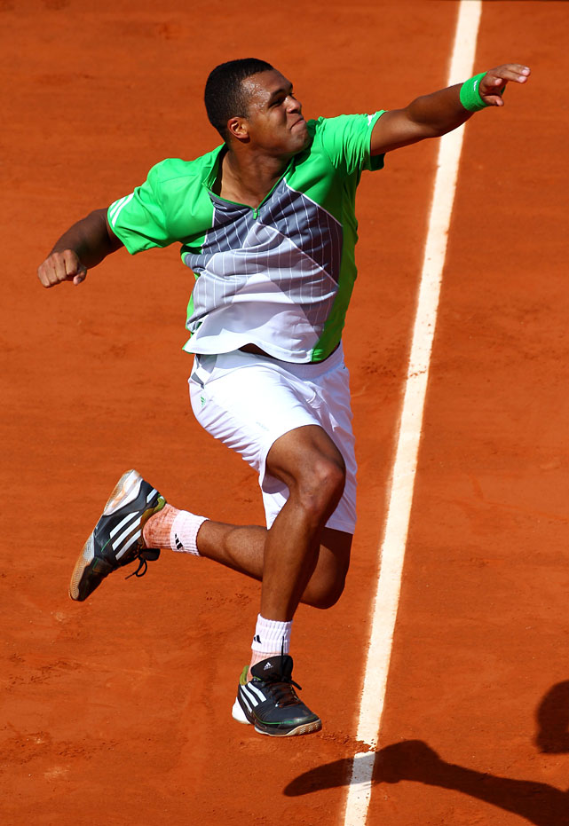 Jo-Wilfried Tsonga of France celebrates match point after winning 6-3, 6-2, 6-2 over Jan Hajek of the Czech Republic.