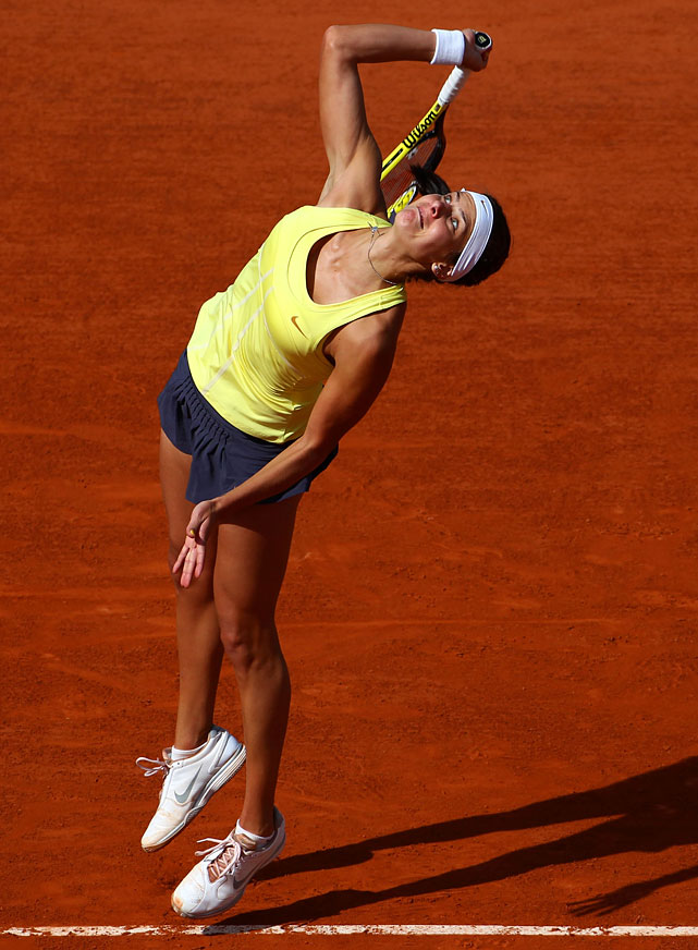 Julia Goerges of Germany serves during her first-round match with Mathilde Johansson of France. Goerges won 6-1, 6-4.