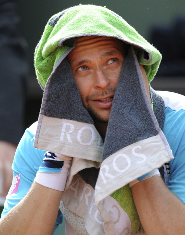 Sweden's Robin Soderling rests on his bench during a changeover during his first-round match with Ryan Harrison of the United States. Soderling won 6-1, 6-7(5), 6-3, 7-5.