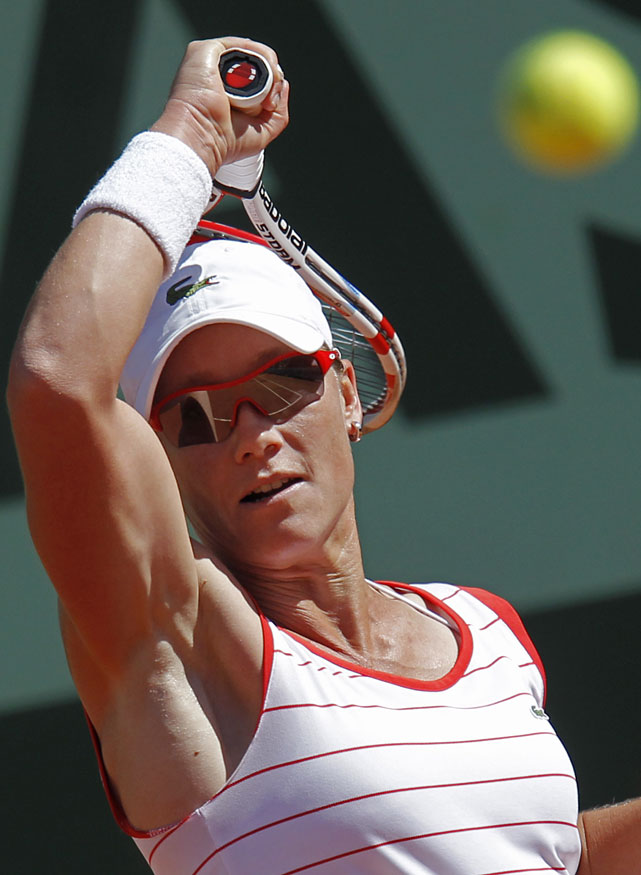 Samantha Stosur of Australia returns during her second-round match with Simona Halep of Romania. Stosur cruised to a 6-0, 6-2 victory.