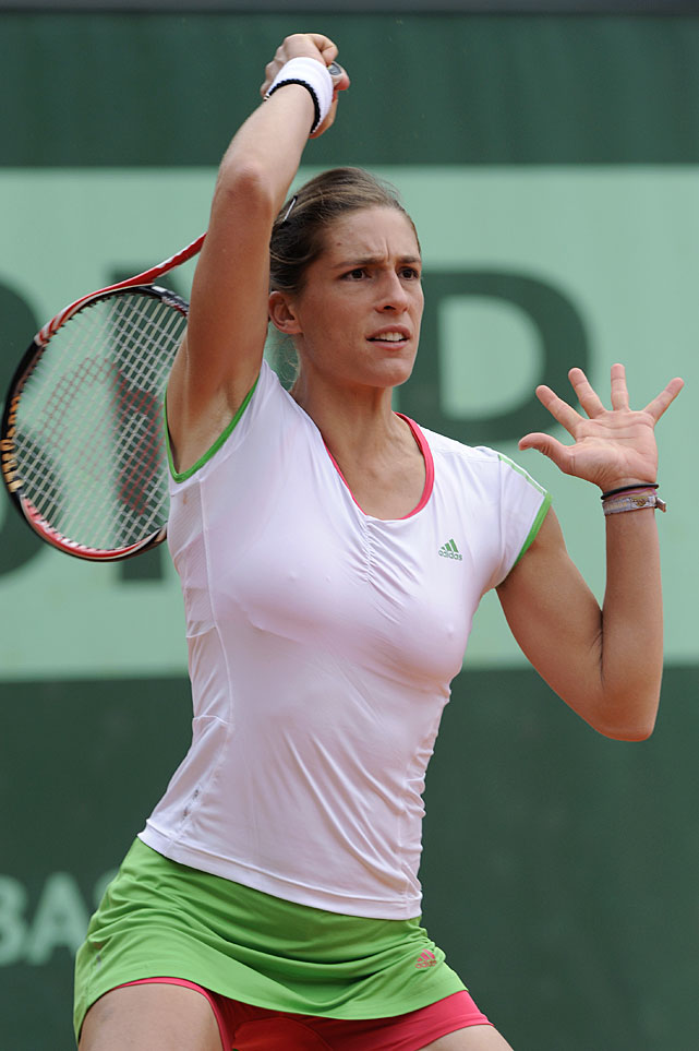 Germany's Andrea Petkovic hits a return to Lucie Hradecka of the Czech Republic near the end of their second-round match. Petkovic won 7-6(2), 6-2.