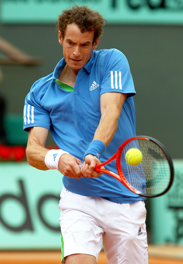 Andy Murray of Great Britain plays a backhand during his second-round match with Simone Bolelli of Italy.