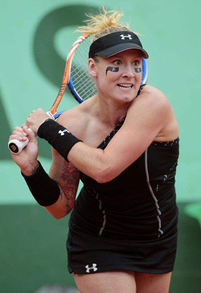 Bethanie Mattek-Sands hits a return to Jelena Jankovic.