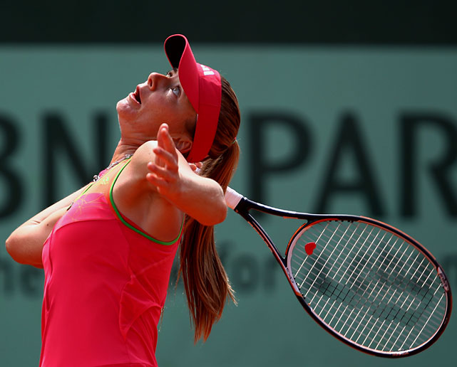 Daniela Hantuchova of Slovakia serves during her 6-1, 6-3 victory over top-seeded Caroline Wozniacki.