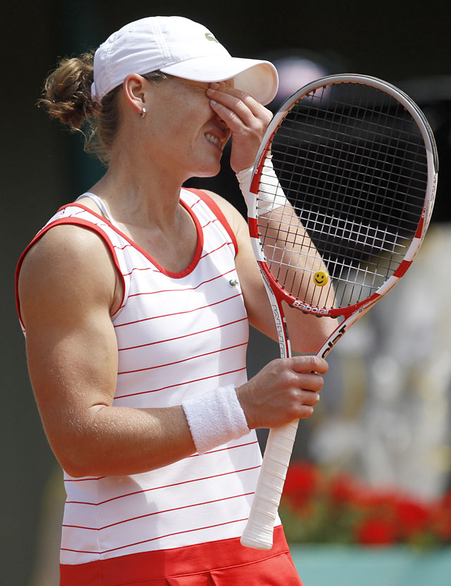 Australia's Samantha Stosur reacts during her 6-4, 1-6, 6-3 loss to Argentina's Gisela Dulko.