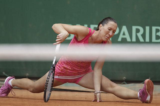 Jelena Jankovic slips during her third-round match with Bethanie Mattek-Sands of the United States. Jankovic won 6-2, 6-2.