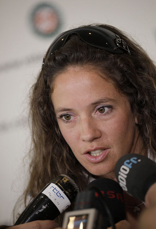 Patty Schnyder of Switzerland announces her retirement from professional tennis during a press conference at the French Open.