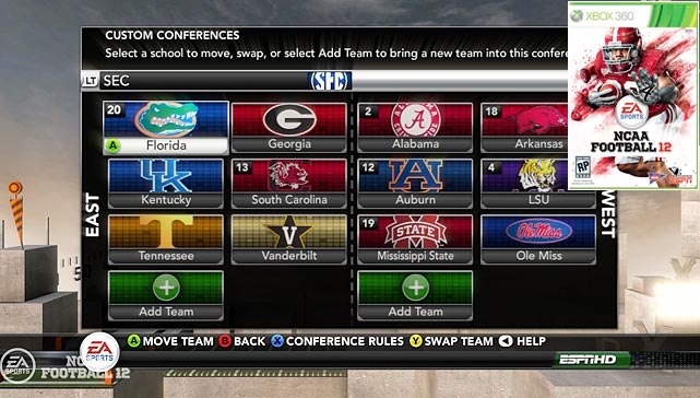 Conference realignment was a huge storyline last year, and the folks at EA were obviously paying attention. In NCAA Football 2012 they have added a new feature that allows you to reshape existing conferences. Want to create an SEC super conference with 16 teams? Want to make the Big 12 whole again? Want to kick USC out of the PAC-10? You can do it.    NCAA Football 12 is scheduled for a July 12 release on the Xbox 360 and PS3.