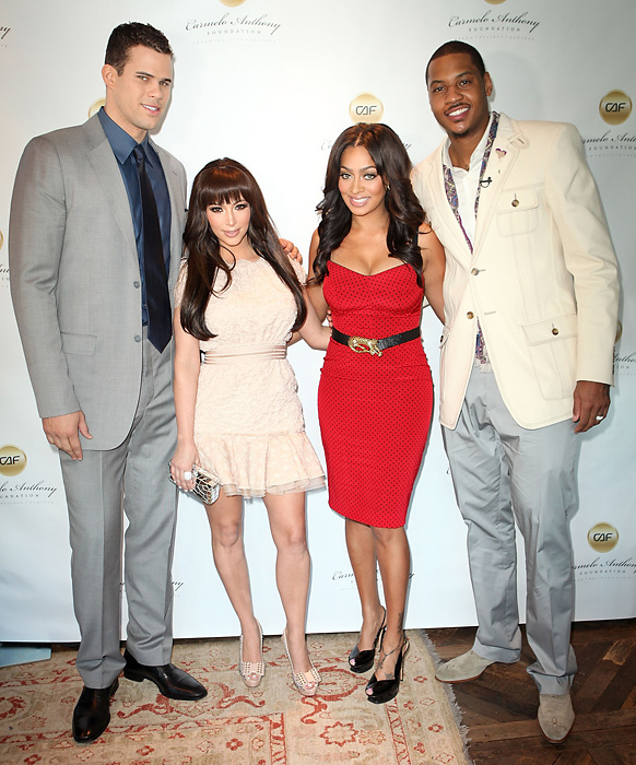 Kris Humphries, Kim Kardashian, LaLa Vasquez, and Carmelo Anthony attend 'A Very Melo Brunch' on Feb. 20, 2011, in West Hollywood, Calif.