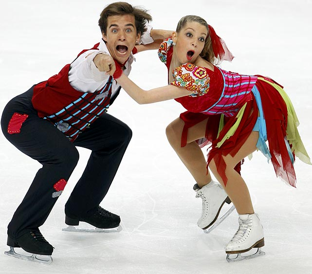 Switzerland's Ramona Elsener and Florian Roost put their game faces on during the ice dance short program at the ISU world figure skating championships in Moscow on April 29.