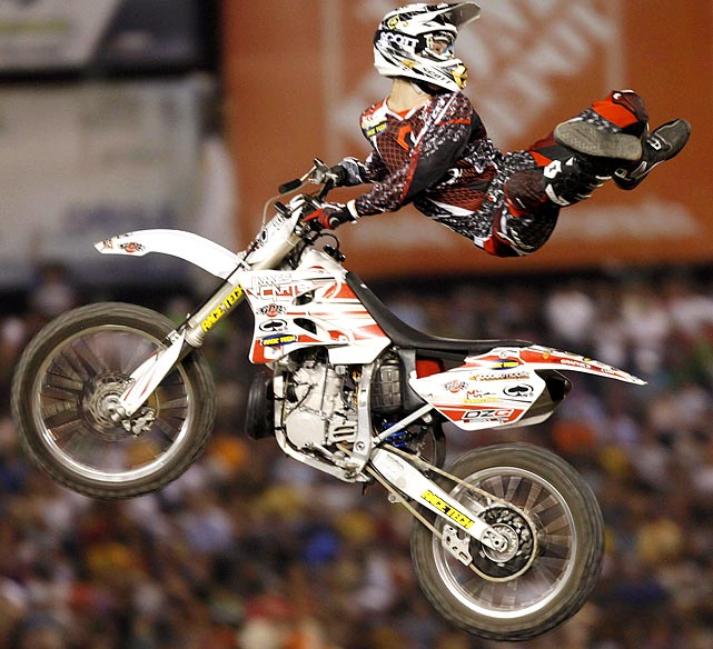 Canadian Mark Phillips performs an Indian Air during the X Pilots world freestyle motocross show on April 29.
