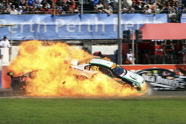 Both drivers walked away from the crash safely, but there were some breathless moments at Barbagallo Raceway after Karl Reindler's car burst into flames as he collided with Steve Owen. Reindler was later taken to the hospital for burns on his hands.