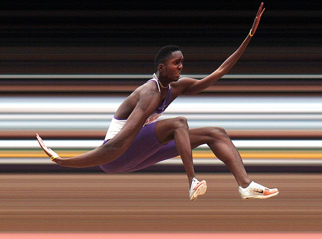 Sports Illustrated  photographer Heinz Kluetmeier used a strip camera to create the elongated body of Jamaica's Keneil Grant at the Penn Relays. Grant is seen participating in the boys' high school long jump championships at Franklin Field in Philadelphia, Pa.