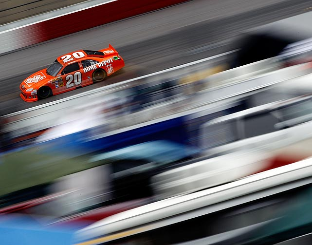 Joey Logano drives the No. 20 Home Depot Toyota during practice for the Showtime Southern 500 at Darlington Raceway on May 6. Logano would go on to finish 35th in the race.