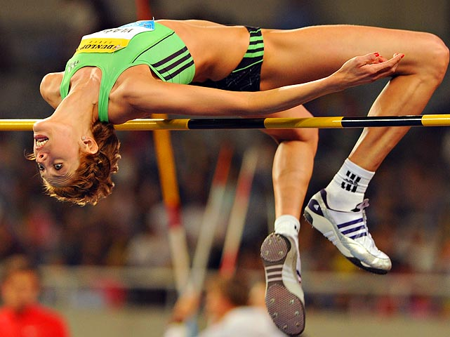 Reigning IAAF world athletes of the year, Blanka Vlasic, competes in the women's high jump at a Diamond League athletics event in Shanghai.