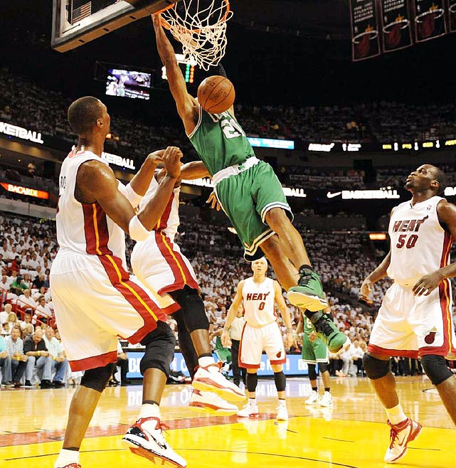Who's this dunking on the Heat in Game 5 of the Eastern Conference semifinals? It's Ray Allen, who had reason to hide his face after he shot 4-for-11 from the field in the Celtics' 97-87 series-clinching loss.