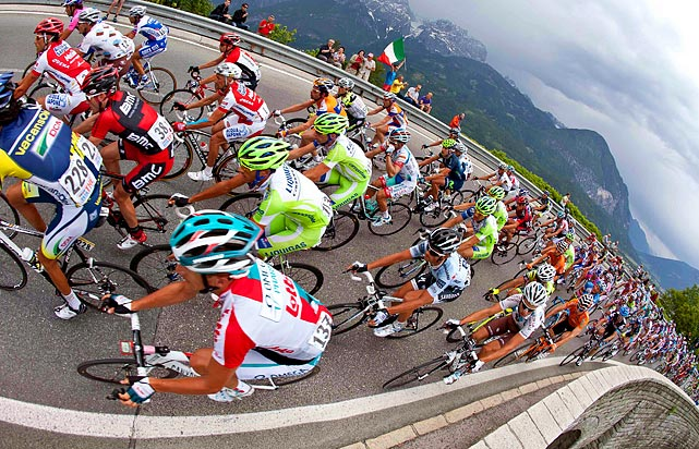 Cyclists climb the Iselsberg mountain during the 13th stage of the Giro d'Italia on May 20.