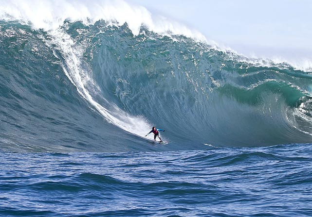 Australian surfer Marti Paradisis rides a 12-meter wave at Shipstern Bluff near Tasmania on March 17. The swells were reportedly the biggest waves at Shipstern Bluff in 10 years.