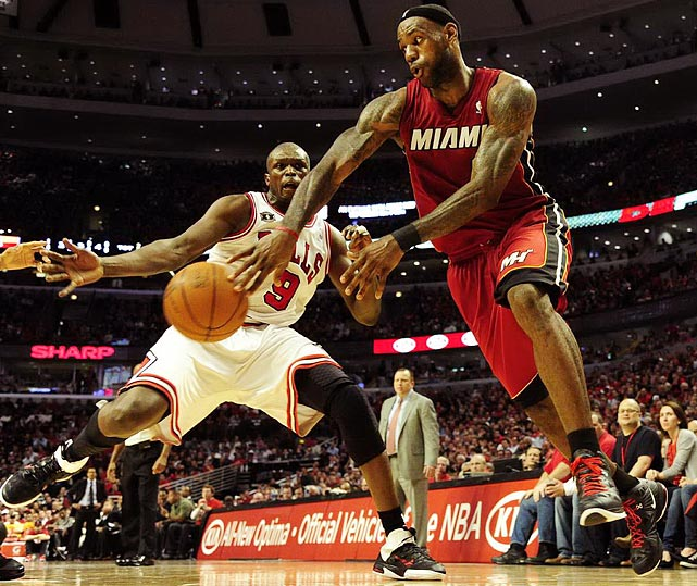 LeBron James looks to thread the needle during the Heat's 85-75 victory over the Bulls in Game 2 of the Eastern Conference finals. James would tally five assists in the win.