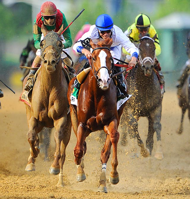 Shackleford (center) outlasts Kentucky Derby winner Animal Kingdom (left) to win the 136th Preakness Stakes. Animal Kingdom would finish second.