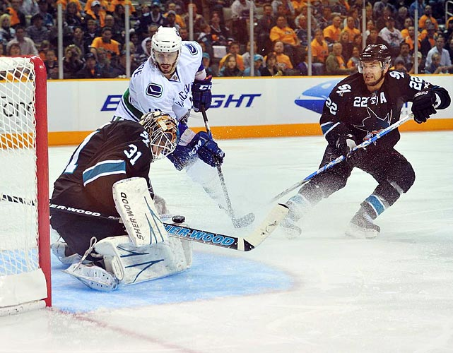 San Jose Sharks goalie Antti Niemi blocks a shot during the Sharks' 4-3 win over the Vancouver Canucks in Game 3 of the Western Conference finals.