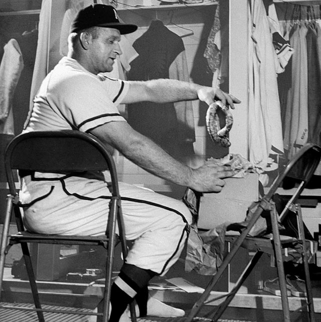 Braves pitcher Max Surkont, whose appetite was legendary in the major leagues, set a major league record by striking out eight straight Reds. Surkont struck out only 83 batters in the entire season, but 1953 was still the best year of his career. He went 11-5 with a 4.18 ERA. His consecutive strikeout record was broken by Tom Seaver, who struck out 10 straight in 1970.