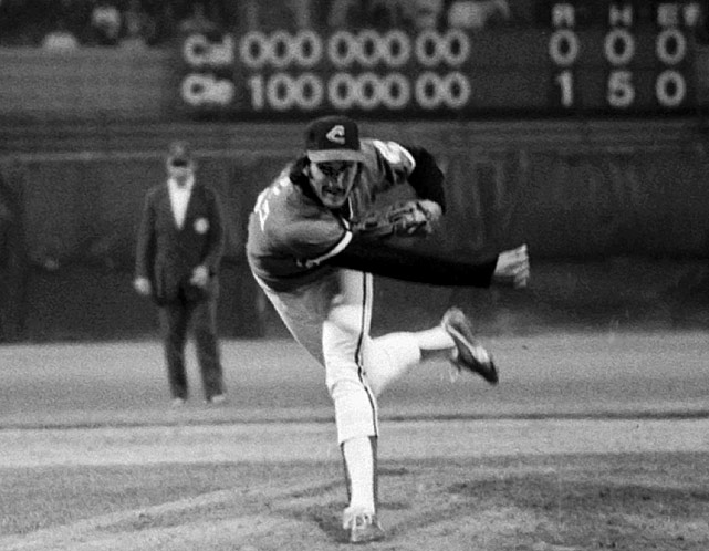 Indians pitcher Dennis Eckersley tossed a no-hitter in a 1-0 win over the Angels. Eckersley walked only one while striking out 12.