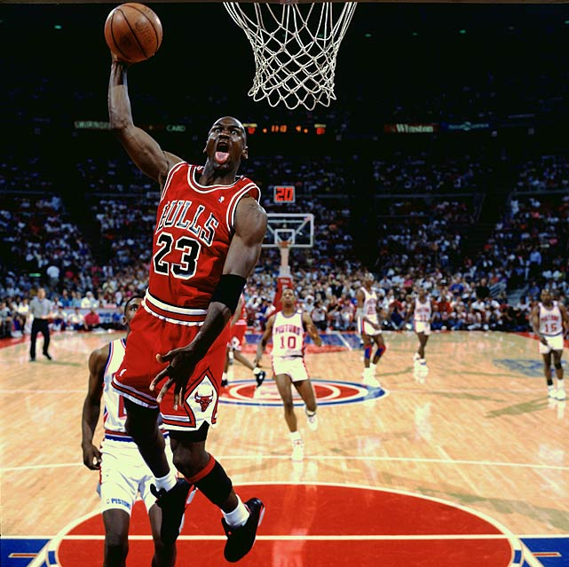 "After years of struggling to get past the ""Bad Boys,"" Michael Jordan and the Bulls put the finishing touch on a sweep of the defending NBA champion Pistons in the Eastern Conference Finals on Memorial Day 1991. The Bulls beat the Lakers for Jordan's first championship."