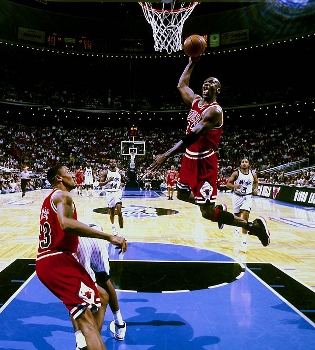 He's back. Michael Jordan scored 45 points as the Bulls swept Shaquille O'Neal and the Magic to reach the NBA Finals for the first time since MJ's return from retirement. Chicago had won an NBA-record 72 games during the regular season, and it started another three-peat with a Finals win over Seattle for the championship.
