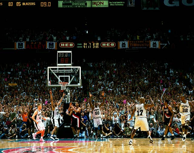 Dubbed the Memorial Day Miracle, Sean Elliot's game-winning three pointer in the closing seconds gave San Antonio an 86-85 win over Portland in Game 2 of the Western Conference finals. San Antonio would go on to sweep Portland and beat New York in five games to win the championship in the strike-shortened NBA season.