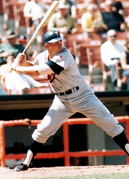 Killebrew prepares for a pitch. The Twins slugger led the majors in home runs six times during his career, including with a career-high 49 in 1964 and 1969.