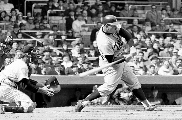 Hammerin' Harmon fouls off a pitch during the first inning of a game with the Yankees. The Twins fell 6-0 on the day, which wasn't a big surprise -- Minnesota, in its inaugural season, finished 70-90, while New York won a league-best 109 games and took the World Series title.