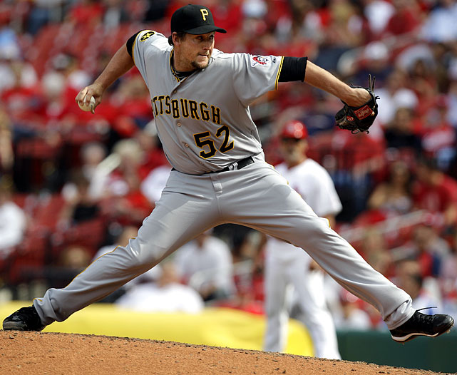 In a rocky career, starter-turned-reliever Hanrahan's best season was as a setup man in 2010, when he posted a 3.62 ERA and was 6-for-10 in save chances. As of June 17, though, he was a perfect 19-for-19 as the closer for the Pirates. Hanrahan had a 1.39 ERA and 29 strikeouts in 32.1 innings.