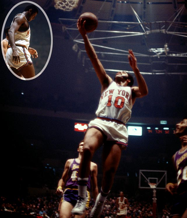 An injured Willis Reed (inset) made a dramatic entrance and scored two immediate baskets, further energizing the crowd at Madison Square Garden. He then watched Frazier (pictured, 36 points, 19 assists) and the Knicks throttle the Lakers to win the championship.