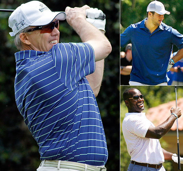 With no minicamps to worry about, NFL types are hitting the links in droves. (Clockwise from left) John Elway, Tim Tebow and David Garrard show that on the golf course, polos are the only way to go.