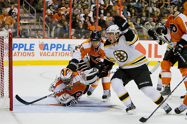Brad Marchand's second power play goal of the game, with 3:43 left in the third period, gave the Bruins a 2-1 win in Philadelphia that secured a playoff appearance. The victory left the Northeast Division-leading Bruins with 94 points, six fewer than the conference-leading Flyers with seven games left to play. The B's would finish the regular season with a 46-25-11 record, 103 points, the division title and the third seed in the postseason tournament.