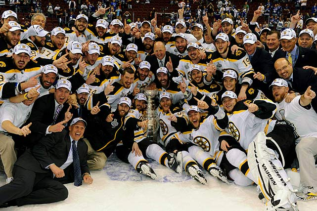 On June 15, 2011, the Boston Bruins won their first Stanley Cup in 39 years. The Bruins failed in their five previous trips to the finals since Bobby Orr led them to championships in 1970 and 1972, losing every time. Remarkable players such as Cam Neely came and went without a Cup, while Ray Bourque had to go to Colorado to get his only ring 10 years ago.  But with Conn Smythe (playoff MVP) winner Tim Thomas between the pipes, their giant defensive captain Zdeno Chara and a core of gritty forwards, the Bruins proved they were the best with a 4-0 Game 7 victory over the President's Cup (for best regular season record) winning Canucks in Vancouver.
