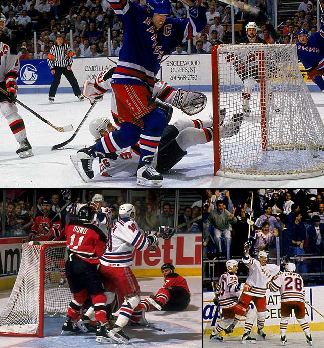 This classic matchup of the league's top two teams began at Madison Square Garden with the Devils tying Game 1 at 3-3 with a minute left, then winning in double OT on Stephane Richer's goal. Mark Messier's guarantee of victory after New York's Game 5 loss and his subsequent third-period hat trick in Game 6 that rallied the Rangers and forced the climactic showdown are legendary. So are the heroics of the far more undersung Stephane Matteau, who beat Devils goalie Martin Brodeur at 6:23 of the second OT in Game 3. In Game 7, Matteau famously did it again after the Devils' Valeri Zelepukin had tied the match with 7.7 seconds left in regulation.