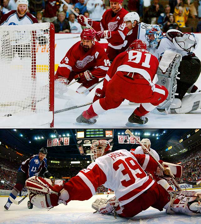 The two bitter rivals went the distance and the first six games were tight and hard-fought. Darren McCarty's hat trick gave the Wings Game 1, but the Avs countered with a 4-3 OT win in Game 2, thanks to Chris Drury's goal. Game 3 went into OT with Avs goalie Patrick Roy staving off a Wings onslaught until he was beaten by Frederik Olausson at 12:44 of the extra session. In Game 4, Drury was again the hero for Colorado in a 3-2 win, and the Avs went up three games to two when Peter Forsberg victimized the Wings on a line change, scoring the decisive goal in a 2-1 OT thriller. It took Dominik Hasek's 2-0 shutout in Game 6 to turn the tide and the Red Wings poured it on with a 7-0 blowout in Game 7.