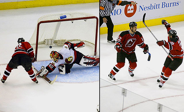 The Senators, who boasted the firepower of Daniel Alfredsson, Marian Hossa and Dany Heatley, were the top seed; the defensively-stout Devils No. 2. Four of the seven games were decided by one goal, including Martin Brodeur's 1-0 shutout of Ottawa in Game 3. The Sens later rallied from a three-games-to-one deficit, thanks to Jason Spezza's sterling playoff debut (goal, assist) in Game 5 and forced Game 7 when Chris Phillips scored at 15:51 of OT in New Jersey. The 2-1 defeat was the Devils' first on home ice of the postseason. Overtime loomed in Game 7 when Jeff Friesen scored with 2:14 left to play, giving the Devils a 3-2 win.