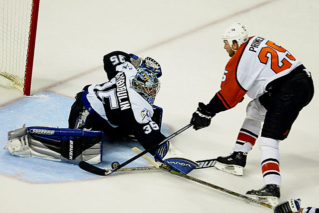 The see-saw series between the top-seed Lightning and third-seed Flyers was the 11th in NHL history to go seven games with the two teams alternating victories. The Bolts were 1:49 away from their first Cup final when Keith Primeau sent Game 6 into OT where Simon Gagne won it at 18:18 as the Flyers forced Game 7. Back in Tampa, both teams played aggressively as Ruslan Fedotenko scored on a power play deflection in the first period and Fredrik Modin tallied early in the second. After Philly's Kim Johnsson made it 2-1 later in the period, Tampa Bay's Nikolai Khabibulin stoned the Flyers the rest of the way.