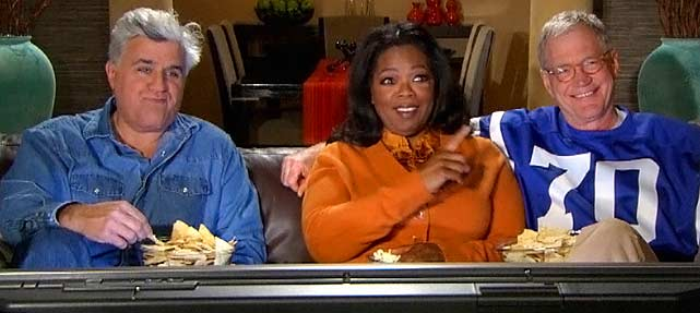 Three of televisions most notable talk show hosts joined for a Super Bowl commercial in 2007.