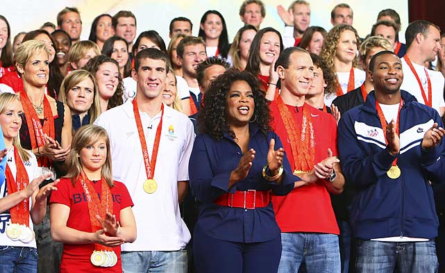 Oprah kicked off her 23rd season by hosting a homecoming at Chicago's Millennium Park for the U.S. Olympians who competed in Beijing. Among the athletic masses: swimmer Michael Phelps.