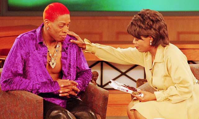"Controversial basketball star Dennis Rodman paid a visit to Oprah in April 1996. The Bulls' forward discussed his book ""Bad As I Wanna Be."""